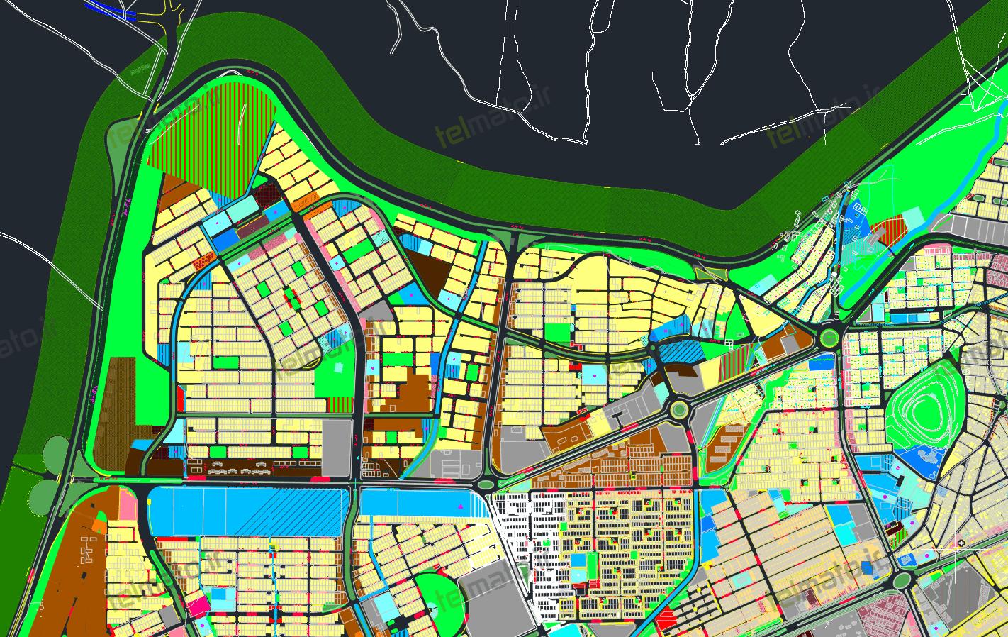 دانلود رایگان فایل نقشه اتوکد طرح تفصیلی شهر ایلام با جزئیات کامل و قابل ویرایش با فرمت DWG